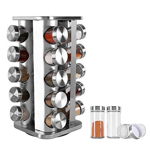 BaoWnylz Acero Inoxidable Especiero-360 ° Especiero Giratorio-20 Botes Especias-Fácil de Limpiar- Ahorro de Espacio Especiero Ccocina-Práctico Organizador Especias