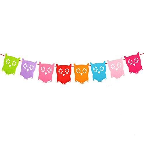 Spaufu, schöne Elefanten-Wimpelkette, Party-Girlande, Dekorations-Zubehör für Babys, Kinder, Dusche, Kinderzimmer, Kindergarten, Geburtstag, eule, 11.5*16cm