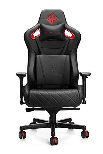 OMEN Citadel Gaming Stuhl (Bürostuhl, Schreibtischstuhl, höhenverstellbar, Lendenkissen, Kopfkissen, 4D verstellbare Armlehnen) schwarz / rot