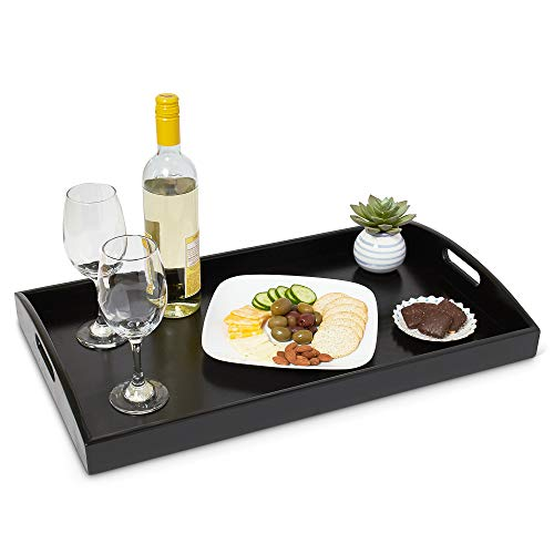 """ModernLuxy 24"""" x 14"""" Extra Large Decorative Bamboo Serving Tray - Ottoman Table Tray - Home Foodtrays - Large Food Platter - Black Tray - Coffee Decor - Appetizer Server - Large Trays for Ottomans"""