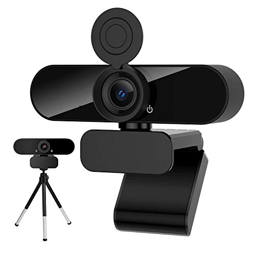 1080P HD USB Webcam with Microphone Webcam Privacy Cover & Tripod, Desktop Laptop Computer Webcam with USB & Built in Noise Reduction Microphone, 360° Rotation, Plug & Play, for Mac OS, Windows