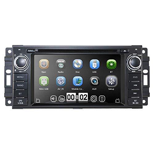 Reproductor multimedia para automóvil Navegador GPS para automóvil Reproductor de DVD estéreo para automóvil Compatible con Jeep Wrangler Chevrolet Dodge Chrysler Unidad principal Din único Pantalla