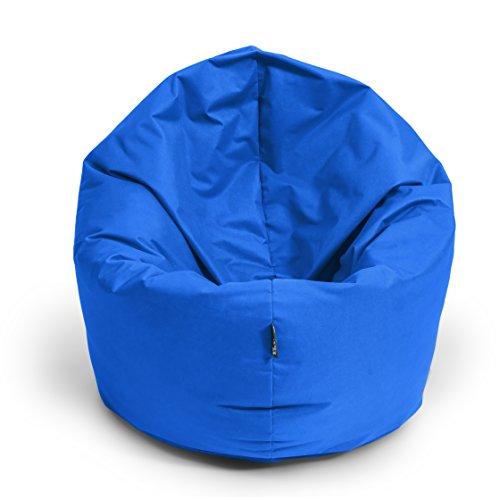 BuBiBag Sitzsack M - XXL 2-in-1 Funktionen mit Füllung Sitzkissen Bodenkissen Kissen Sessel BeanBag (100 cm Durchmesser, blau)