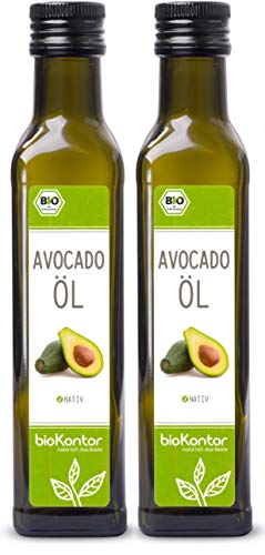 Avocadoöl BIO 500ml (2x 250ml) I Avocado-Fruchtfleischöl I nativ - 100% rein I Rohkostqualitätvon bioKontor