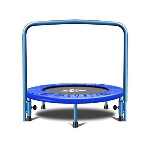 WXL Trampolín de 36 pulgadas para niños trampolín redondo mesa de salto con barandilla limitadora cama plegable Fitness trampolín máximo 350 libras para niños trampolín interior y exterior