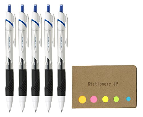 Uni-ball Jetstream Retractable Ballpoint Pen, Micro Point 0.5mm, Blue Ink, 5-Pack, Sticky Notes Value Set