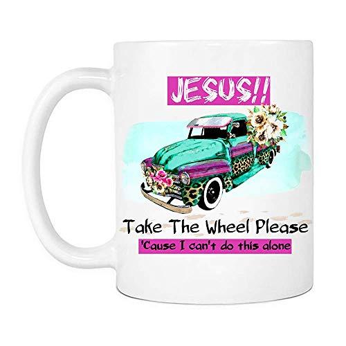 Eastlif Jesús Toma el Volante por Favor Taza púrpura, Cristianismo Hombres Mujeres Tazas de café de cerámica Que Dicen Blanco,