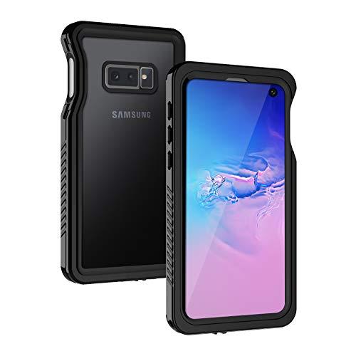 Lanhiem für Samsung Galaxy S10E Hülle, IP68 Zetrifiziert Wasserdicht Handyhülle 360 Grad Schutzhülle, Stoßfest Staubdicht und Schneefest Outdoor Panzerhülle mit Eingebautem Displayschutz, Schwarz