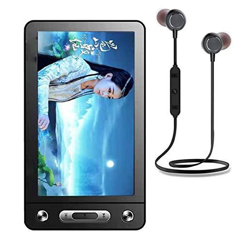 FXMINLHY - Lettore MP3 da 5 Pollici Touch Screen ad Alta Definizione e-Book Reader con Cuffie Bluetooth MP3 Musica Video Player Bambini Compleanno Vacanze Capodanno