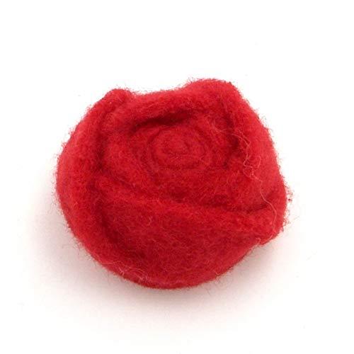 E+N Filz-Rose klein rot, Durchmesser x Höhe: ca. 5 x 2,5 cm, Filz