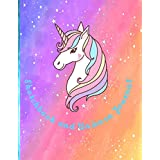 """Sketchbook and Unicorn Journal: Cute Unicorn On Pink Effect Background, Large Blank Sketchbook For Girls, 110 Pages, 8.5"""" x 11"""", For Drawing, Sketching & Crayon Coloring (Kids Drawing Books) sketchbook ."""