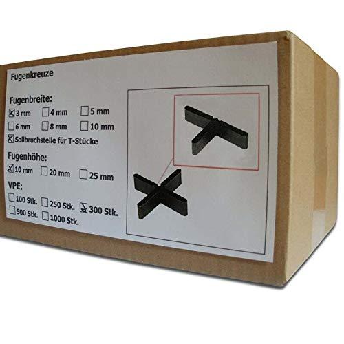 300 Stück SANPRO Flache Fugenkreuze Fugenbreite 3 mm/Höhe 10 mm