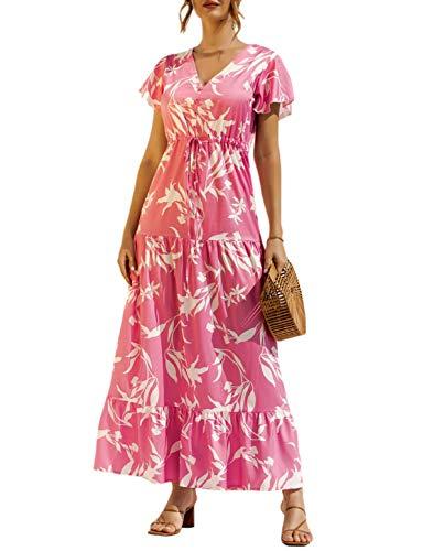 ZILIN Womens Floral Print A-Line Elastic Waist Dresses V Neck Short Sleeve Button Up Flowy Maxi Dress Pink
