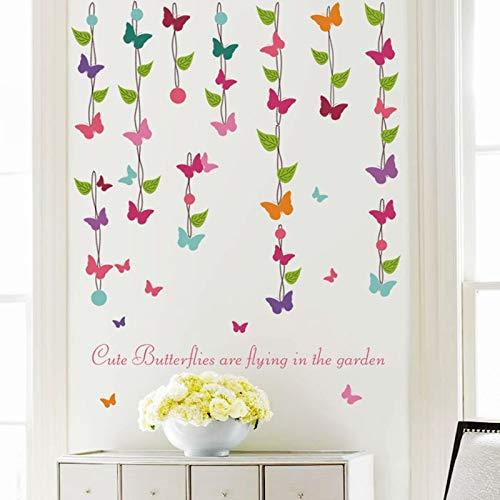 Moderne Blumenrebe Schmetterling Wandaufkleber für Wohnzimmer Schlafzimmer Home Decoration Wardrob Hintergrund Party Decals Kinderzimmer