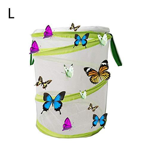QueenHome Insekten- und Schmetterlings-Habitat zusammenklappbar mit Insektennetzkäfig Großer Schmetterlingshaus Zusammenklappbarer Insekten- und Schmetterlings-Lebensraum-Käfig Terrarium Pop-up