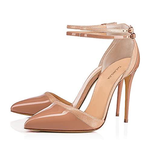 LEBE Tacones Altos Zapatos de Corte con Punta Puntiaguda para Mujer Hombres Crossdresser Drag Queen Stiletto Sandalias Zapatos de Gran tamaño a la Moda a Juego para Mujer -Bare Color||UK6