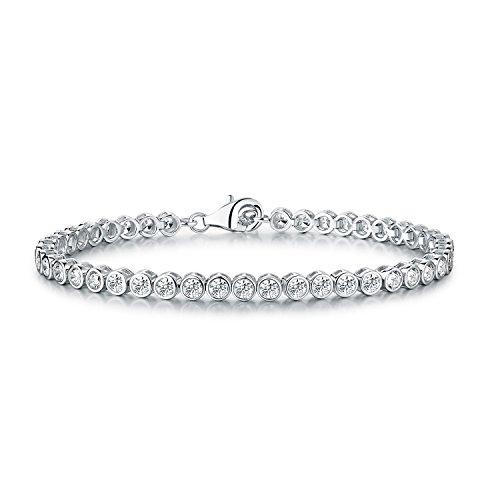 Diamond Treats Tennis Armband solides 925 Sterlingsilber Zargen 3mm lupenreine weiße Zirkonias. Dieses 16.5-18 cm Armband, symbolisierend die Ewigkeit, ist den perfekten Schmuck für Frauen
