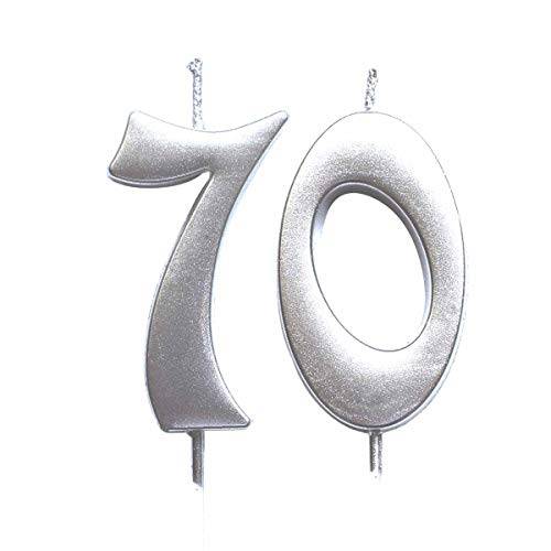 MAGJUCHE Silver 70th Birthday Numeral Candle, Number 70 Cake Topper Candles Party Decoration for Women or Men