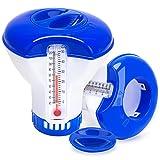 ESMART Dispensador de Cloro con Termómetro, 5 Inch Dispensador Cloro Flotante, Dosificador Químico para Piscina y SPA, Flotador Cloro Pastillas de Piscina