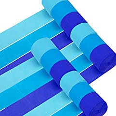 "This is a super-value combination that includes 12 rolls of baby blue crepe paper streamers. 3 colors: light blue, blue, dark blue, 4 rolls per color. Dimensions: width - 4.5cm/1.77"", length - 25m/82ft. Some streamers may be tighter, so the sizes var..."