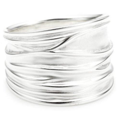 Vinani Ring breit Struktur sandgestrahlt glänzend Sterling Silber 925 Größe 60 (19.1) RBM60