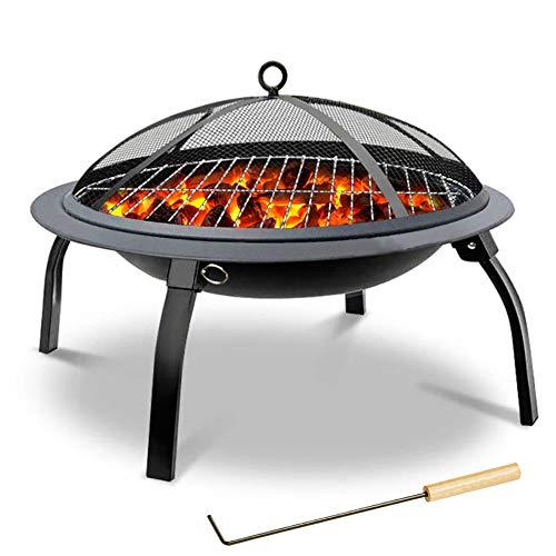 ZDYLM-Y Outdoor Metall Feuerstelle, Tragbare Faltbare Feuerschale mit BBQ-Grill-Funkenschutz und Poker, Oxford-Tasche für Camping