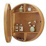 Mueble con Espejo para Baño Redondo Armarios De Pared para Baños Armario De Medicamentos con Espejo Nivel 3 con Marco De Madera De Cierre (Color : Wood Color, Size : 50 * 50 * 13.5cm)
