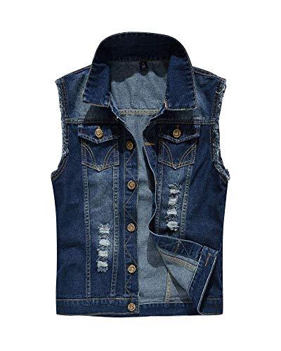 HX fashion Herren Zerrissene Jeansweste Rmellose Slim Denim Weste Bequeme Größen Jeansjacke Weste Freizeitjacke Sommerjacke Weste Kleidung (Color : Blau, Size : 4XL)