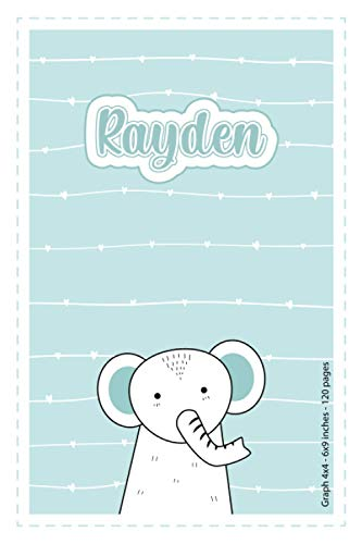 Rayden: Personalized Name Squared Paper Notebook Light Blue Elephant | 6x9 inches | 120 pages: Notebook for drawing, writing notes, journaling, ... writing, school notes, and capturing ideas