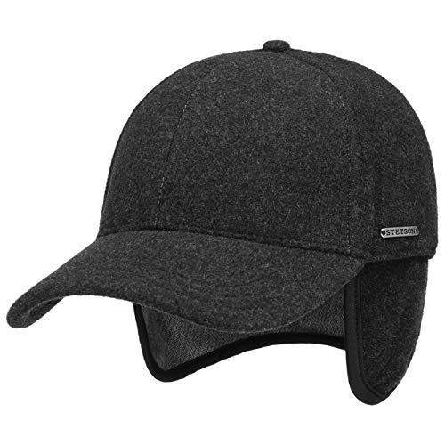 Stetson Vaby Earflap Cap für Herren Wollcap Wintercap Hinten geschlossen, mit Schirm, Ohrenklappen,, Anthrazit, M (56-57 cm)