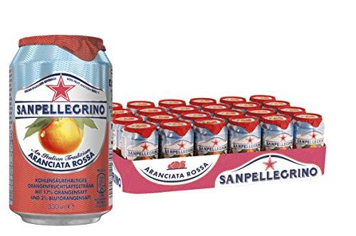 San Pellegrino Aranciata Rossa, Blutorangen Limonade, Hoher Fruchtanteil, 17% frisch gepresste Blutorangen, Süßlich herbe Geschmacksnote, Ohne Farbstoffe, 24er Pack, EINWEG (24 x 0,33l)