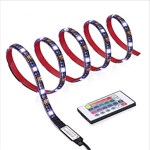 LISUHONG JYNY AYCD 5M USB SMD SMD 5050 Blackboard RGB Fondo de TV Colorido Tira LED Decorativa con Controlador de 24 Llaves