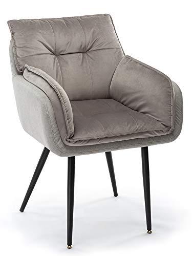 Sillón, sofá Individual, sillón de Ocio, Terciopelo Gris, Adecuado para Sala de Estar, Dormitorio, balcón