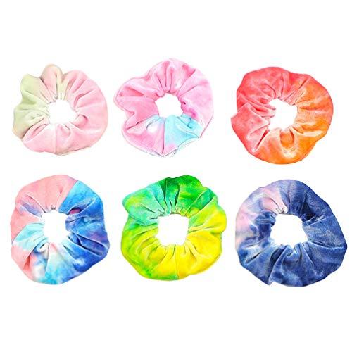 VALICLUD 6 Stück Samt Haar Haargummis Elastische Regenbogen Farbe Haarbänder Scrunchie Bobbles Weiche Haargummis Seile Zubehör für Frauen Oder Mädchen