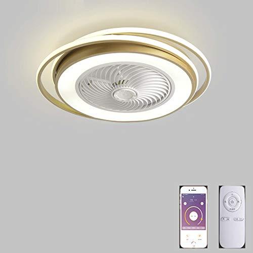 VOMI LED Silencioso Luz del Ventilador Regulable Lámpara Plafon con Control Remoto Y Control de APP Ventilador de Techo con Luces Temperatura del Color Velocidad del Viento Ajustable para Dormitorio