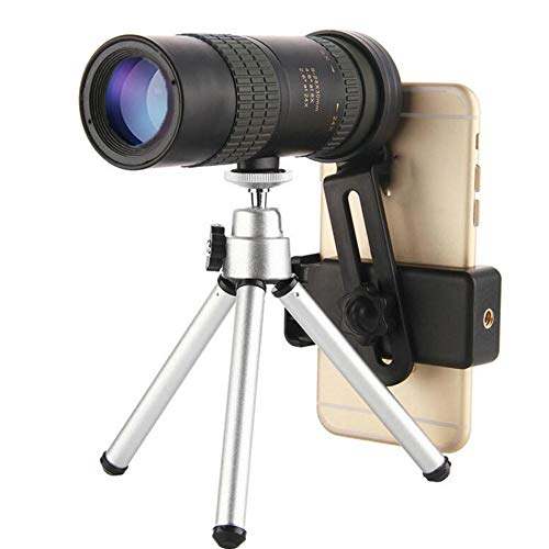10-300x40mm Super Telephoto Zoom Monocular Telescope,Monocular Telescope with Phone Holder and Tripod for Beach Travel (with Tripod and Clip, 10-300x40)