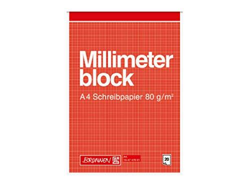 Brunnen 104747001 Millimeterblock Millimeterpapier (A4, 80g/m², 20 Blatt)