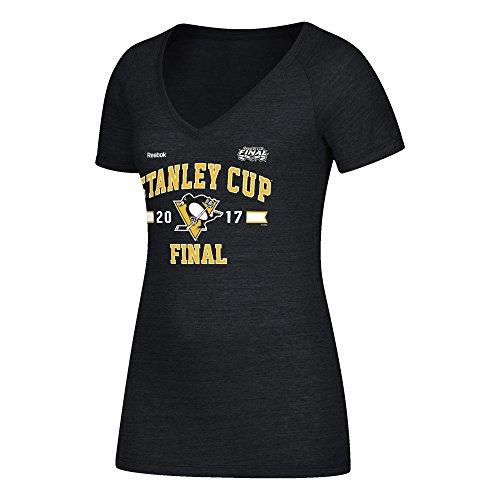 Reebok NHL Finals Stanley Cup Playera con Cuello en V y Arco Simple para Mujer, Mujer, B366W WQBP, Black Heather, Extra-Large