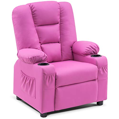Mcombo Big Kids Recliner Chair with Cup Holders for Toddler Boys and Girls, 2 Side Pockets, 3+ Age Group, Faux Leather 7322 (Pink)