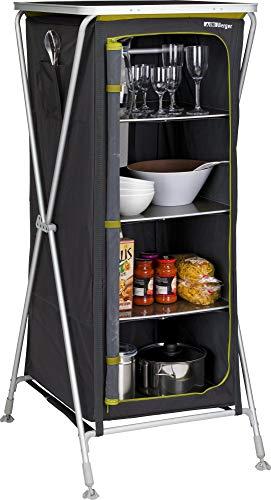 BERGER Klappbox Pablo L Küchenbox 60 x 140 x 66 cm Faltbarer Beistelltisch Alu Faltschrank grau