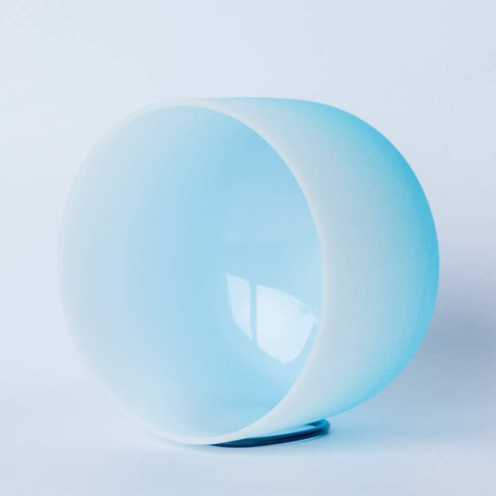 Cuenco De Cristal Azul Cuencos Tibetanos 432Hz 8 Pulgadas Una Nota Cuarzo Escarchado del Chakra del Tercer Ojo para Terapia De Sonido Y Meditación.