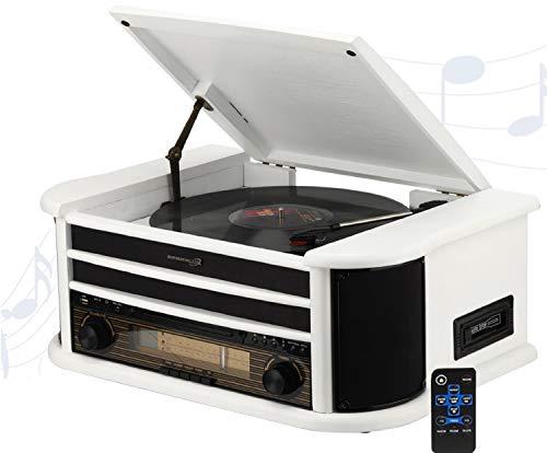 Nostalgie Kompaktanlage | 7in1 Musikanlage | Plattenspieler | Kassette | CD-Player | USB | Fernbedienung | SD-Card | Schallplattenspieler | Aufnahmefunktion | (Nostalgie Musikanlage Unicorn White)