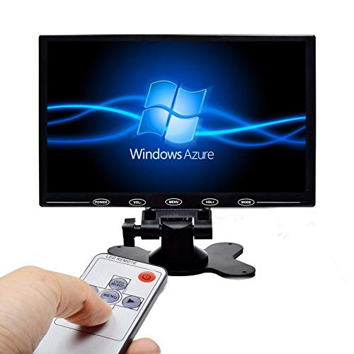Camecho 9 Inch LCD Monitor HD TFT Color Screen, 2 Video Input/HDMI/VGA, Support Car Backup, Mini PC Display, CCTV, Home Security, with Remote Control