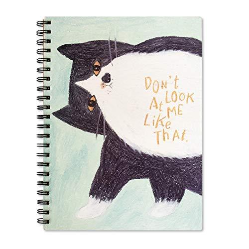 Lemical Skizzenbuch, A4, Hardcover, Spiralbindung, blanko, handgezeichnet, säurefreies Papier, Hochformat, Spiralbuch, 16 K Narcissistic Cat