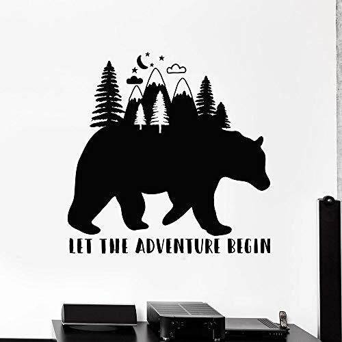 Calcomanías de pared de oso palabras inspiradoras que comience la aventura pegatinas de vinilo del bosque dormitorio de los niños sala de estar decoración del hogar papel tapiz