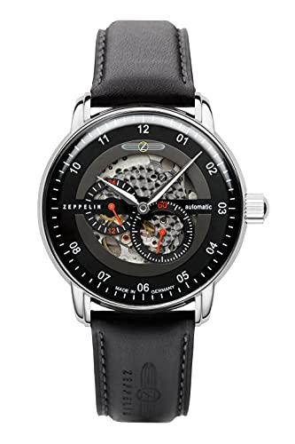 Zeppelin Herren-Armbanduhr Automatik New Captain's Line Schwarz 8664-2