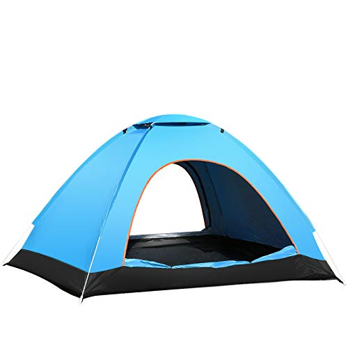 2 to 3 Persons Pop up Tent Automatic Instant Outdoor Tent Easy Setup Camping Tent Waterproof Dome Tent for Hiking Camping Backpacking Outdoor Sports (Blue)