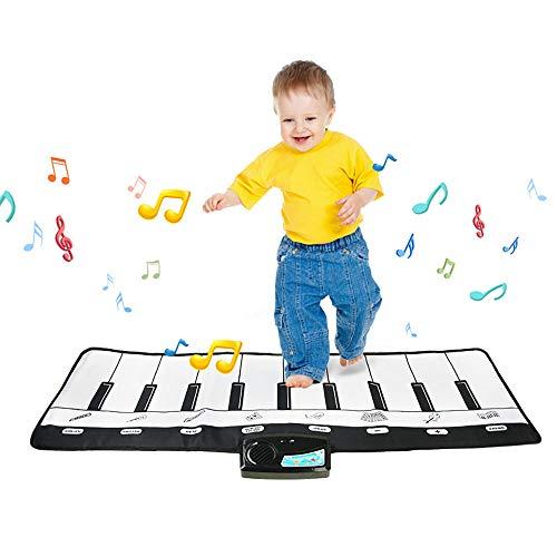 SELMAL Kids Piano Mat, Piano Mat vloertoetsenbord, 19 toetsen 8 verschillende muziekinstrumenten Geluidopties Beste verjaardagscadeaus voor meisjes/jongens/kinderen