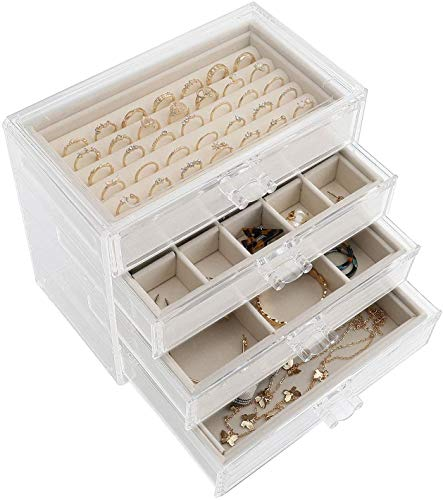 Boîte à Bijoux Acrylique à 4 Tiroirs, Organisateur de Bijoux pour Bagues Boucles d'oreilles Collier Bracelet Affichage, Coffret à Bijoux, Étui de Rangement pour Bijoux Transparent, Cadeau pour Femmes
