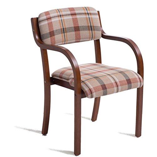 Rollsnownow Beige Red Lattice Coussin Chaise en bois massif à manger Modern Simplicity Chaise simple Bureau Chaise en cuir Chaise d'ordinateur (Color : Brown wooden frame)